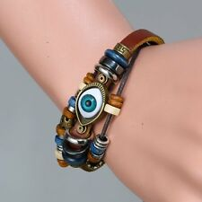 Handmade Punk Unisex Turkish Evil Eye Leather Adjustable Wristband Bracelet Gift
