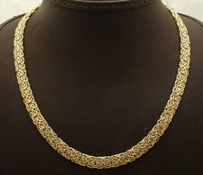 "18"" 7mm Wide All Shiny Mirror Byzantine Chain Necklace Real 14K Yellow Gold HSN"