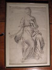 OLD MASTER DRAWING OF CLASSICAL WOMAN on laid paper, ANTIQUE ink, wash, graphite