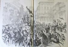 ITALIE CARNAVAL DE MILAN COSTUMES GRAVURE XIXéme N° 42 L'UNIVERS ILLUSTRE 1859