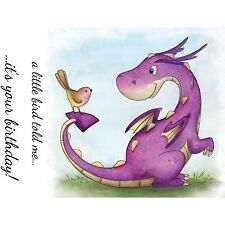 DRAGON Birthday Set Clear Unmounted Rubber Stamp Wild Rose Studio CL488 New