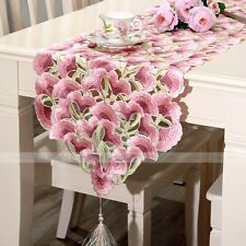 """yazi Embroidered Pink Flower 15""""x74"""" Table Runner Rustic Wedding Party Home"""
