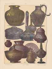 Indien Kulturgeschichte Gefäße CHROMOLITHOGRAPHIE von 1883 Indische  Kunst