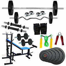 Fitfly Home GymSet 8 in 1 Bench & 20kg Weigh,3ft Curl,5ft Plain Rod+Accessories