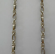 SOLID 925 STERLING SILVER BYZANTINE BOX LADY'S  CHAIN  NECKLACE   44cm-17.33""