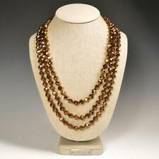 "Glamorous 72"" Faceted Metallic Bronze Crystals Beaded Extra Long Strand Necklace"