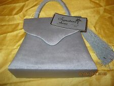 Alfa New Grosgrain purse evening bag w/ side tassel shoulder strap Grey sliver