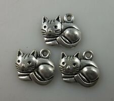 20pcs Tibetan silver cat charms pendant 13x15mm
