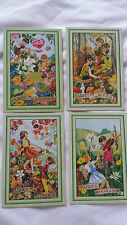 4 x Fairies of the Woods/Meadow/Hedgerow/Garden postcards - excellent condition