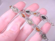 "(pb6) AMBER Orange Green Poland 925 Sterling SILVER tennis link 7"" long BRACELET"