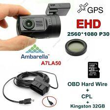 EYOYO 0806 A7LA50 Chip HD 1296P Car Dash Cam Camera DVR /GPS+CPL+Hard Wire+32GB