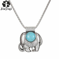 Silver Plated Elephant Pendant Charm Turquoise Chain Necklace