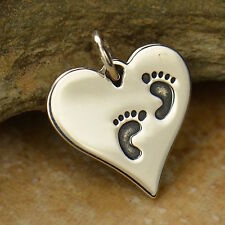 925 Sterling Silver Heart with Footprints Pendant for Necklace New Mom Baby