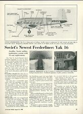 1950 Aviation Article Soviet Airline Aeroflot & Yak 16 Airplane Russia USSR