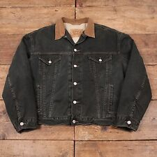 "Mens Vintage Levis Black Tab Quilt Lined Denim Trucker Jacket Grey XXL 52"" R4760"