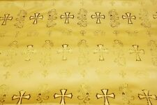 Cross Design Jacguard Brocade Fabric, high quality metalic textile by the yard