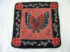 Unique Hand Painted Butterfly Art Batik Cushion / Pillow Cover / Throw Slip Case