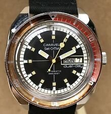 Vintage Bulova Caravelle Set-O-Matic 666 feet Dive Divers Diving Wristwatch