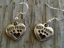 """Cute Silver """"Best Friend"""" Cat Dog Pet Paw Print Heart Charm Dangle Drop Earrings"""
