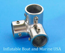 "Boat Hand Rail Fittings-90 Degree 7/8"" 3 Way Corner Elbow-Marine Stainless Steel"