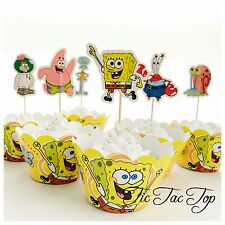 12x Spongebob SPECIAL Cupcake Toppers + Wrappers. Party Supplies Lolly Loot Bag