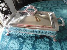 Vintage ONEIDA Silver Plated Footed Covered Casserole Serving Tray Very Brght
