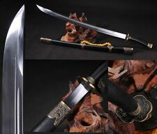 """Chinese BroadSword """"Qing Dao""""(刀) High Carbon Steel Sharp Alloy Fitting Handmade"""