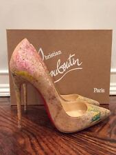 NIB Christian Louboutin So Kate 120 Cork Blooming Paint Thin Heel Pump Shoe 38