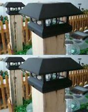 2 Kits Black New Outdoor Garden Solar Panel Post Deck Cap Light