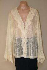 NWT Victorian Boho Ivory Lace Hippie Romantic Poet Ruffle Blouse Top size 18 XL
