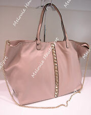 AUTH VALENTINO GARAVANI LIGHT PINK GOLD ROCKSTUD CALF LEATHER CHAIN BAG TOTE NEW
