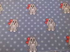 Vtg  cotton fabric puppy hound  dog on blue red bow half yard cut 1/2 x 44