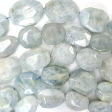 "20-30mm faceted blue aquamarine freeform nugget beads 16"" strand"