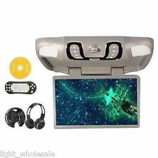 "Gray 15.6"" HD Roof Mount Car DVD Player FM TV Transmitter SD Games +2xHeadphone"