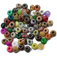 6pcs Mixed Large Hole Rondelle Gemstone Jade Jasper Beads Jewelry Making