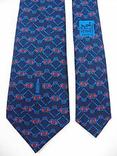 HERMES MENS 100% SILK NECK TIE COLLECTORS RARE BLUE COCA COLA BOTTLE COKE FRANCE