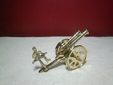 Vintage Brass Double Barrel Cannon Soldier Military Rotating Wheels Free Ship