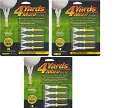 """4 Yards More Tees 3x Four Pack Yellow 2.75"""" 2 3/4"""" (12) Golf Driver / FW Wood"""