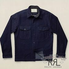 $350 RRL Ralph Lauren Indigo Dyed Harbor CPO JAPANESE COTTON SHIRT-MEN-M