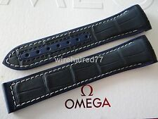 Omega Seamaster Planet Ocean 21mm Navy Blue Alligator-Rubber Deployant Strap