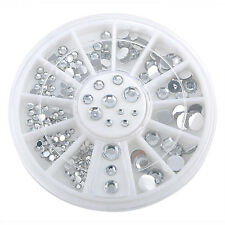 5 Sizes Fun DIY Nail Art Tips Decoration 3D Clear White Glitter Rhinestones FT05