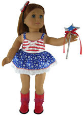 "American Girl 18"" Doll Clothes Satin July 4th Patriotic Dance Outfit 4 Piece Set"