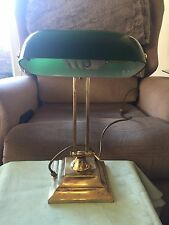 REPRODUCTION ANTIQUE BRASS & GREEN SHADE BANKERS TABLE / DESK LAMP- 1994