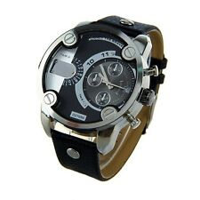 vogue Men Boy Original Stainless Steel Dial Leather Band Wrist Watch XMAS Gift