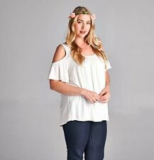 Plus Size 2X Top Cold Shoulder Sleeve open Off White Trendy Womens Clothing