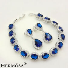 Genuine Blue Sapphire White Topaz 925 Sterling Silver Set Earrings Bracelets