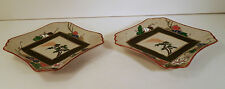 PAIR OF MATCHING SIGNED JAPANESE DISHES HEAVY HP ENAMEL MT FUJI & FLOWERS