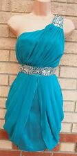 NEW LOOK BEADED ONE SHOULDER JADE GREEN GRECIAN BODYCON PARTY TUBE DRESS 10 S