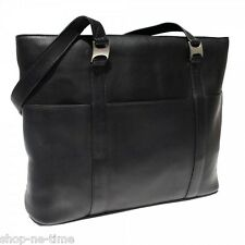 "Piel Leather Colombia Black Leather 15"" Laptop / MacBook Pro Tote Bag - New"
