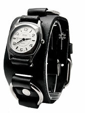 AMSTAR:BLACK HEAVY LEATHER BIKER BAND WITH RINGS ROUND CASE ANALOG WATCH